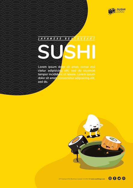 Modello di volantino ristorante sushi asiatico Psd Gratuite
