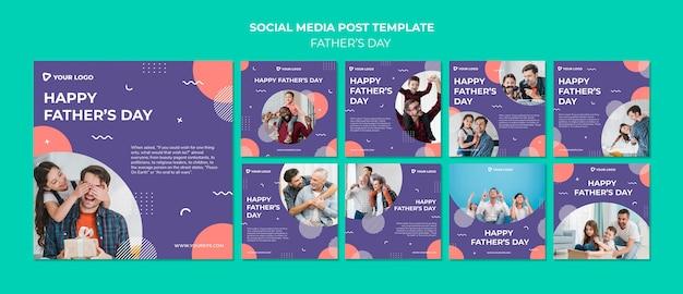 Modello felice della posta di media sociali di concetto di festa del papà Psd Gratuite