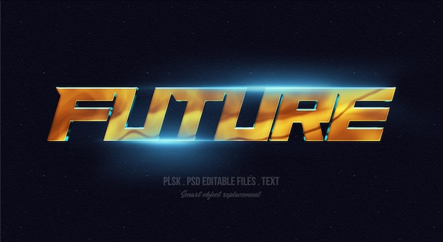 Modello futuro di effetto di stile del testo 3d con le luci Psd Premium