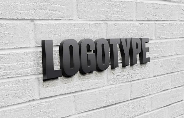 Modello logotipo sul muro di mattoni Psd Premium