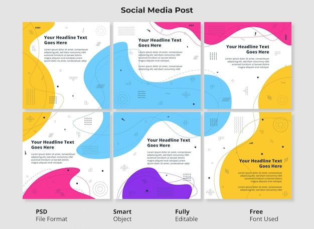 Modello modificabile post sociale banner design minimalista semplice e colorato forma astratta con forma fluida e liquida Psd Premium