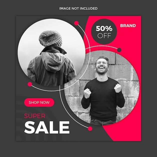 Modello nero della posta del instagram di media sociali di vendita Psd Premium