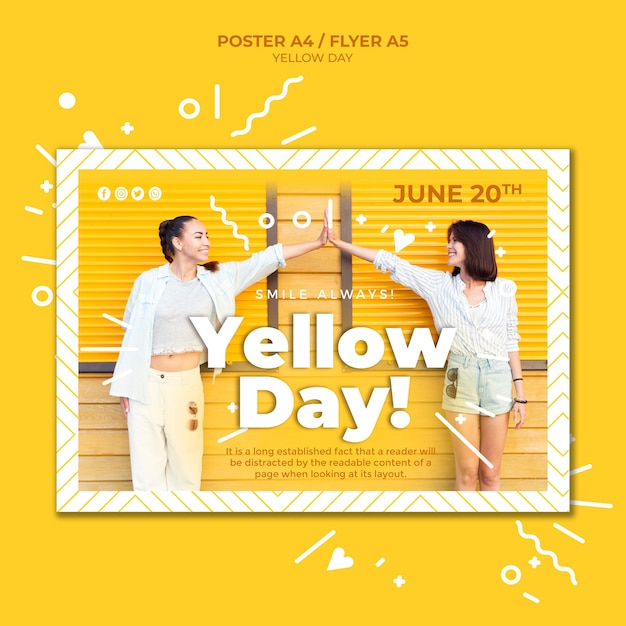 Modello orizzontale del manifesto di giorno giallo con la foto Psd Gratuite