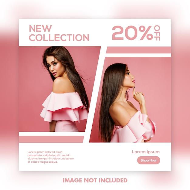 Modello quadrato dell'insegna, modello rosa di moda della bella ragazza Psd Premium