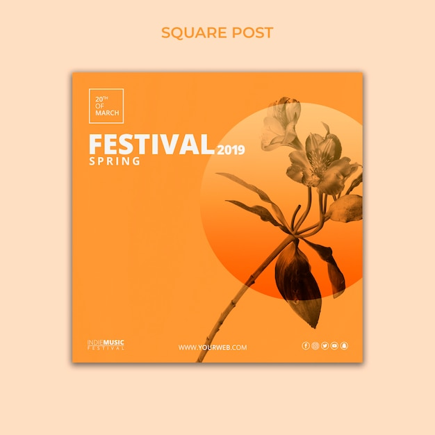 Modello quadrato post con il concetto di festival di primavera Psd Gratuite