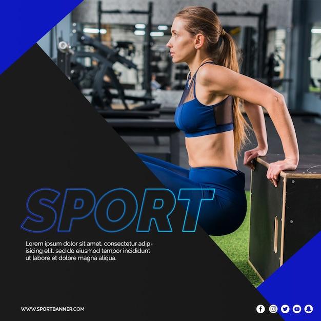 Modello quadrato post con il concetto di fitness Psd Gratuite