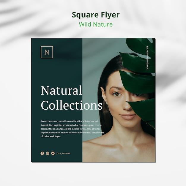 Modello selvaggio dell'aletta di filatoio del quadrato di concetto della natura Psd Gratuite