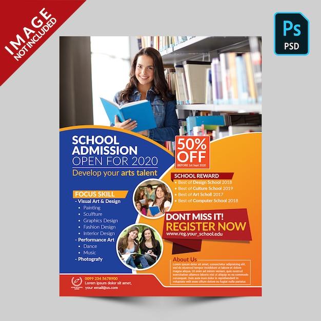 Modello volantino - ammissione alla scuola Psd Premium
