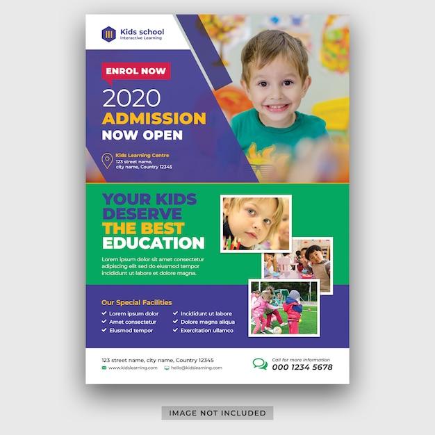 Modello volantino di ammissione all'istruzione scolastica per bambini psd premium psd Psd Premium