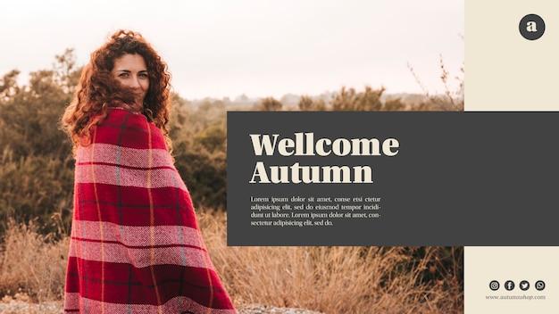 Modello web di autunno orizzontale benvenuto con donna capelli ricci Psd Gratuite