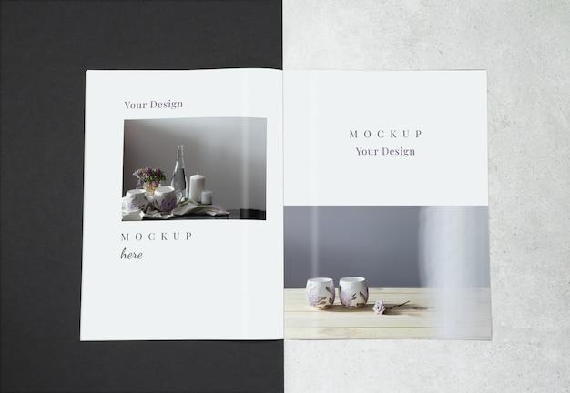 Modelmagazine op grijze zwarte achtergrond Premium Psd