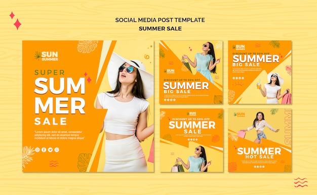 Modelo chica venta de verano publicación en redes sociales PSD gratuito