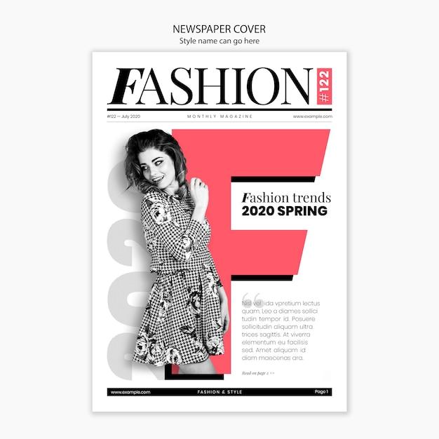 Modelo de moda en portada de periódico PSD gratuito