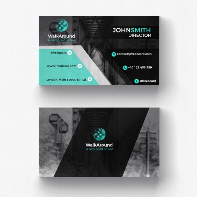 modelo preto e turquesa cartão corporativo Psd grátis