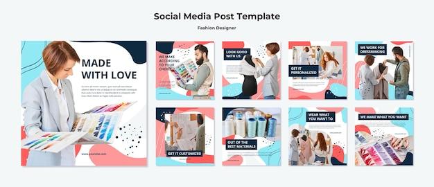 Modeontwerper posts op sociale media Gratis Psd