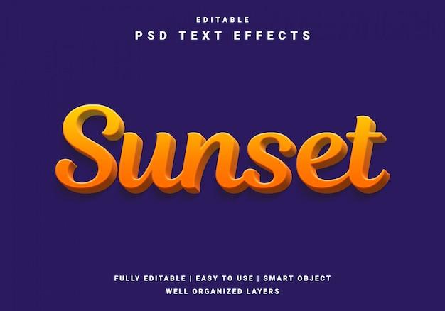 Modern 3d zonsondergang teksteffect Premium Psd