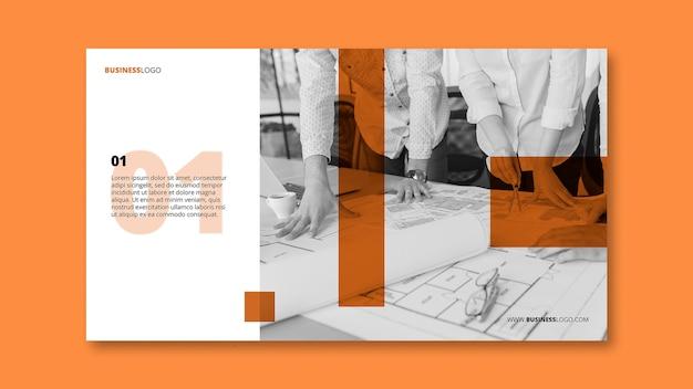 Modern bedrijfsbannermalplaatje met beeld Gratis Psd