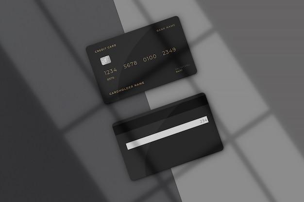 Modern creditcardmodel met schaduwoverlay Premium Psd