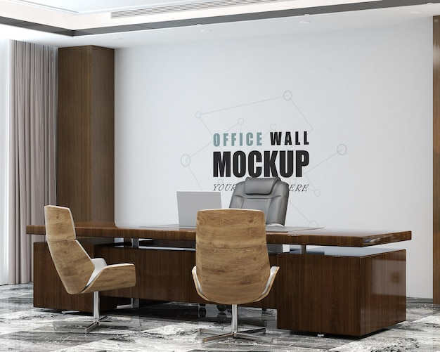 Modern design management office wall mockup Premium Psd
