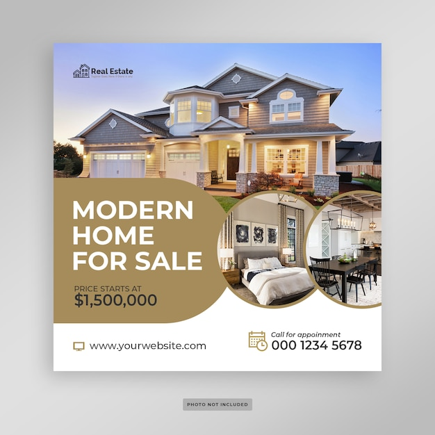 Modern huis verkoop sociale media banner folder sjabloon Premium Psd