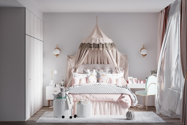 Modern interieur kinderen slaapkamer muur mockup Premium Psd