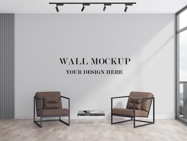 Modern kantoor wachtruimte lege muur 3d-rendering mockup Premium Psd