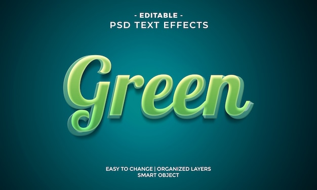 Modern kleurrijk groen teksteffect Premium Psd