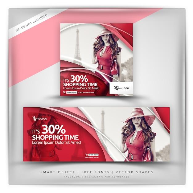 Modern lady instagram y facebook banner PSD Premium