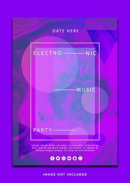 Modern liquid music flyer design PSD gratuito