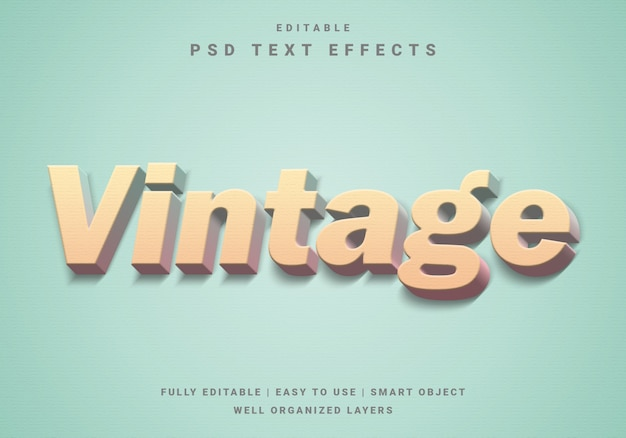 Modern vintage teksteffect Premium Psd