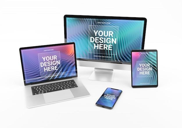 Moderne apparaten met smartphone-laptopcomputer en tablet op wit mockup Premium Psd