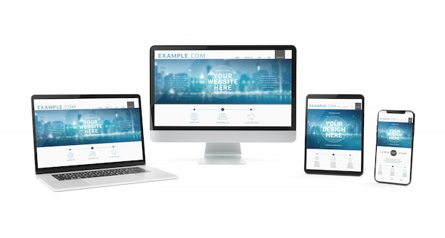 Moderne apparaten op wit model als achtergrond Premium Psd