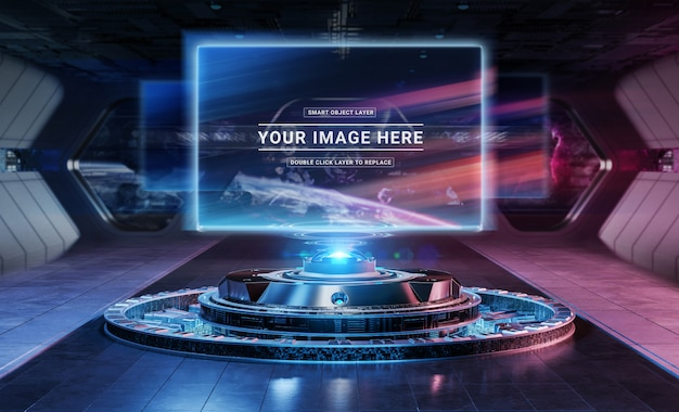 Moderne billboardprojector in futuristisch interieurmodel Premium Psd