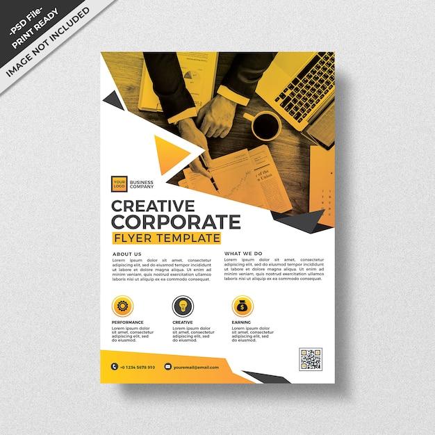 Moderne creatieve geometrie stijl corporate flyer sjabloonontwerp Premium Psd