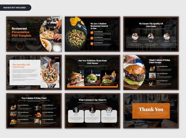Moderne donkere minimale restaurant presentatiesjabloon Premium Psd