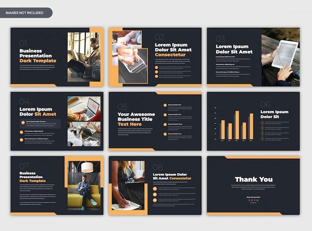Moderne donkere zakelijke boekje of zakelijke presentatiesjabloon Premium Psd