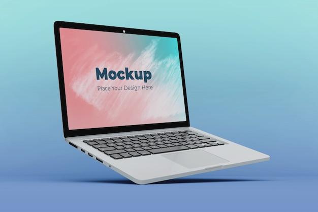 Moderne drijvende laptop mockup ontwerpsjabloon Premium Psd