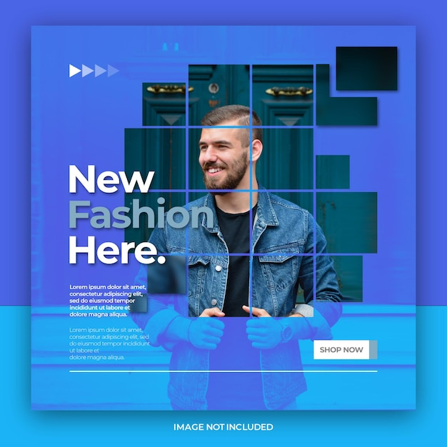 Moderne duotoon mode verkoop instagram of sociale media postsjabloon Premium Psd