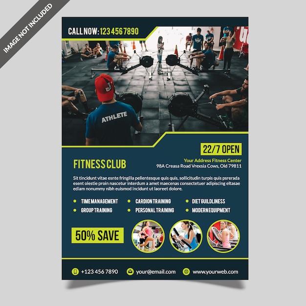 Moderne fitnessruimte fitness folder sjabloon Premium Psd
