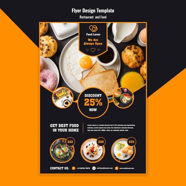 Moderne flyer sjabloon voor ontbijtrestaurant Premium Psd