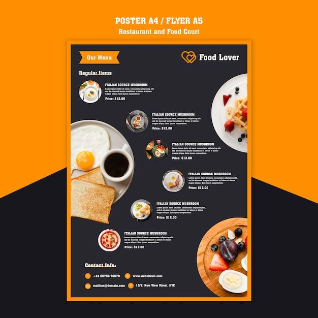 Moderne flyer voor ontbijtrestaurant Gratis Psd