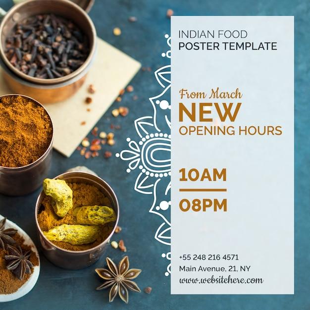 Moderne indiase voedsel poster sjabloon Gratis Psd