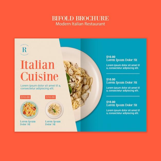 Moderne italiaanse restaurant tweevoudige brochure Gratis Psd