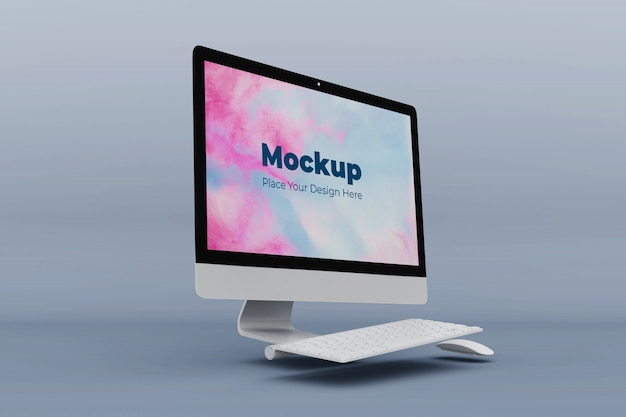 Moderne kantoor computer mockup ontwerpsjabloon Premium Psd