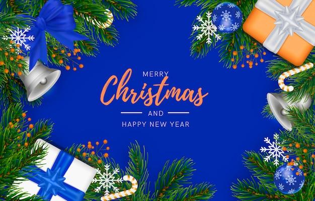 Moderne kerst achtergrond met blauwe decoratie Gratis Psd