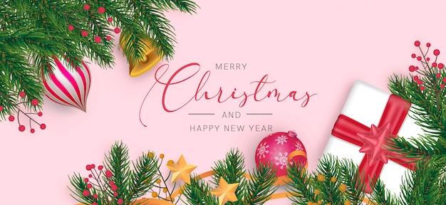Moderne kerst achtergrond met realistische decoratie Gratis Psd