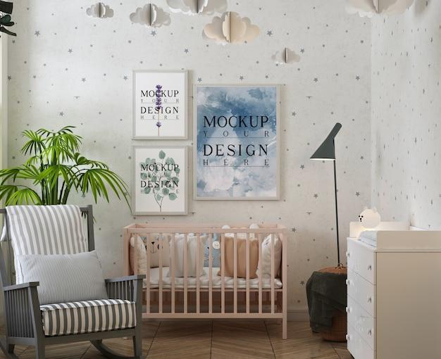 Moderne klassieke babykamer met posterframe mockup Premium Psd