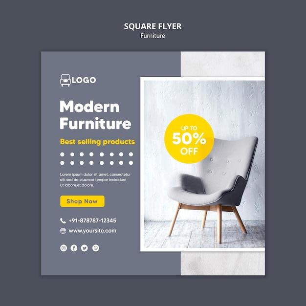 Moderne meubels vierkante flyer Gratis Psd