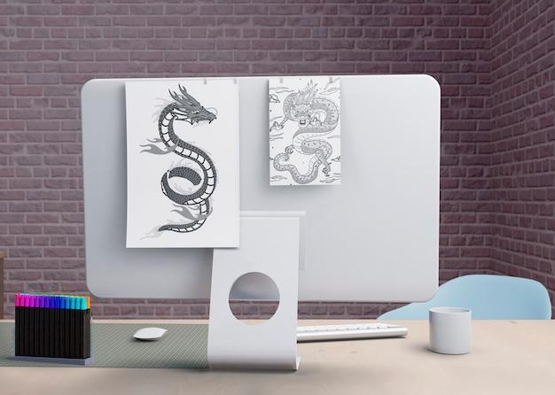 Moderne monitor op kantoor binnen Gratis Psd