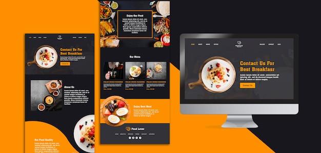 Moderne webpagina sjabloon voor ontbijtrestaurant Gratis Psd